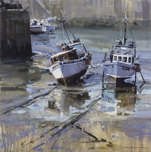 Reflections, Newquay Harbour, Mixed Media